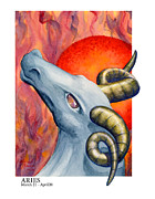 Signs Of The Zodiac Painting Metal Prints - Aries Metal Print by Michael Baum