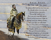 Art Framed Prints - Arise Shine War Horse Framed Print by Constance Woods