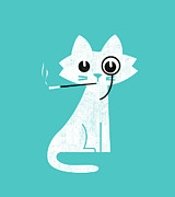Cute Cat Digital Art Posters - Aristo cat Poster by Budi Satria Kwan