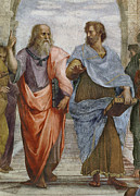 Fresco Metal Prints - Aristotle and Plato detail of School of Athens Metal Print by Raffaello Sanzio of Urbino