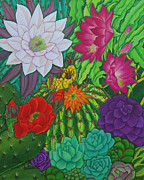 Candelabra Painting Prints - Arizona garden Print by Marcela C Lubian
