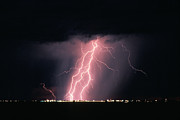 Storm Photographs Posters - Arizona  Lightning Over City Lights Poster by Anonymous