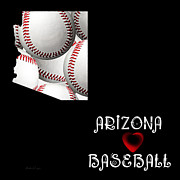 Abstract Map Framed Prints - Arizona Loves Baseball Framed Print by Andee Photography