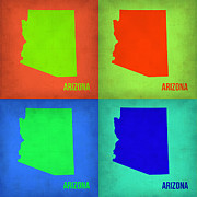 World Map Digital Art Metal Prints - Arizona Pop Art Map 1 Metal Print by Irina  March