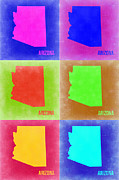 World Map Digital Art Metal Prints - Arizona Pop Art Map 2 Metal Print by Irina  March