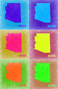 Arizona Pop Art Map 4 Print by Irina  March