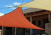 Adobe Building Posters - Arizona Shade Sails II Poster by Suzanne Gaff