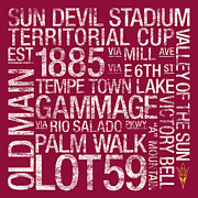 Lot Posters - Arizona State College Colors Subway Art Poster by Replay Photos