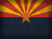 Universities Mixed Media Metal Prints - Arizona State Flag Art on Worn Canvas Metal Print by Design Turnpike