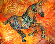 Wild Horse Mixed Media Metal Prints - Arizona Sun Metal Print by Betsy A Cutler East Coast Barrier Islands