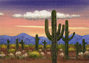 Color Purple Painting Posters - Arizona Sunset Poster by Gordon Beck