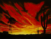 Amazing Sunset Painting Framed Prints - Arizona Sunset Framed Print by Stuart Engel