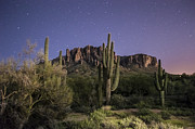 Saguaro Cactus Posters - Arizona Superstition Mountains Night Poster by Michael J Bauer
