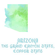 Arizona - The Grand Canyon State - Copper State - Map - State Phrase - Geology Print by Andee Photography