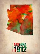 Map Art Digital Art Prints - Arizona Watercolor Map Print by Irina  March