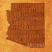 Grand Canyon State Framed Prints - Arizona Word Art State Map on Canvas Framed Print by Design Turnpike