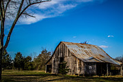 Photos With Red Photo Prints - Arkansas Barn and Blue Skies Print by Jim McCain