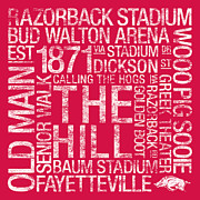 Bud Walton Arena Prints - Arkansas College Colors Subway Art Print by Replay Photos