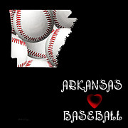 Arkansas State Map Prints - Arkansas Loves Baseball Print by Andee Photography