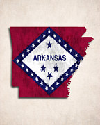 Arkansas Digital Art Metal Prints - Arkansas Map Art with Flag Design Metal Print by World Art Prints And Designs