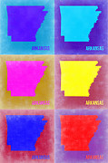 World Map Digital Art Metal Prints - Arkansas Pop Art Map 2 Metal Print by Irina  March