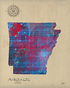 Arkansas State Map Prints - Arkansas state map Print by Brian Buckley