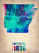 Art Poster Posters - Arkansas Watercolor Map Poster by Irina  March