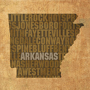 Arkansas Mixed Media Posters - Arkansas Word Art State Map on Canvas Poster by Design Turnpike