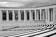 National Historic District Posters - Arlington Memorial Cemetery Amphitheater  BW Poster by Susan Candelario