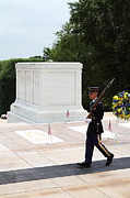 Headstones Metal Prints - Arlington National Cemetery - Tomb of the Unknown Soldier - 01134 Metal Print by DC Photographer