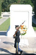 Stone Prints - Arlington National Cemetery - Tomb of the Unknown Soldier - 121214 Print by DC Photographer