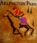 Jockey Paintings - Arlington Park by Gino Savarino