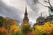Autumn Scenes Metal Prints - Arlington Street Church Metal Print by Joann Vitali