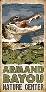 Nature Center Digital Art Posters - Armand Bayou Alligator Poster by Jim Sanders