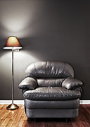 Chair Photo Metal Prints - Armchair and floor lamp Metal Print by Elena Elisseeva