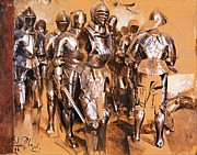 Ages Painting Prints - Armor Chamber Fantasy Print by Pg Reproductions