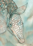 Blue Mushrooms Painting Posters - Armour Armadillo Poster by Tamara Phillips