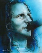 Eddie Vedder Prints Posters - Arms Raised in a V Poster by Christian Chapman Art