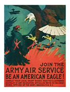 Patrotic Framed Prints - Army Air Service - Vintage WW1 Art Framed Print by Presented By American Classic Art