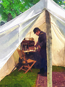 Hat Posters - Army - Civil War Officers Tent Poster by Susan Savad