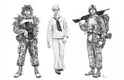 Troops Drawings Prints - Army Navy Marines Print by Murphy Elliott