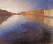 Historic Pastels - Arno River Reflections in Florence Italy by Logan Marlatt Gerlock