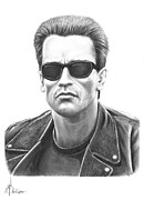 Famous People Drawings - Arnold Schwarzenegger Terminator by Murphy Elliott