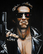 Schwarzenegger Paintings - Arnold Schwarzenegger - Terminator by Tom Carlton