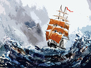 Tall Ship Painting Prints - Around the horn Print by Steven Ponsford