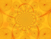Raw Sienna Posters - Around The Sun-abstract Circles Poster by Tom Druin