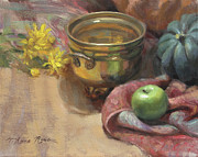 Squash Paintings - Arrangement in Gold and Green by Anna Bain