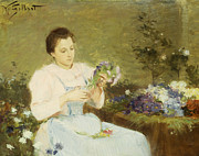 Sat Paintings - Arranging flowers for a spring bouquet by Victor Gabriel Gilbert
