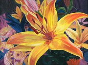 Close Up Floral Painting Prints - Arranging Lily Print by Lynne Reichhart