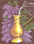 Arranging The Lilacs Print by Cyndi Kingsley